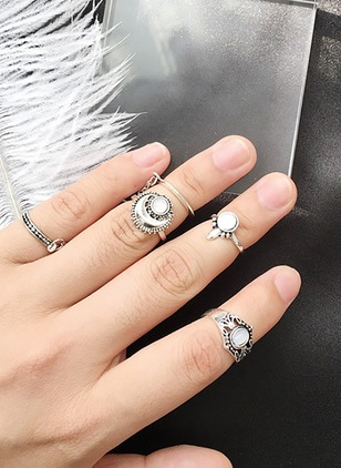 Moon Gemstone Rings 5pcs