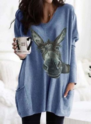 Casual Animal Tunic V-Neckline A-line Dress (100038348)
