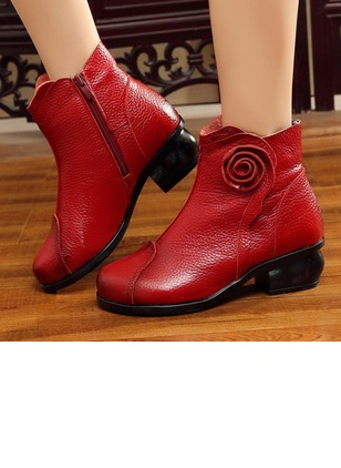 Zipper Mid-Calf Boots Real Leather Low Heel Shoes