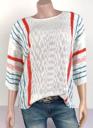 Round Neckline Color Block Casual Loose Regular Shift Sweaters (107251133)