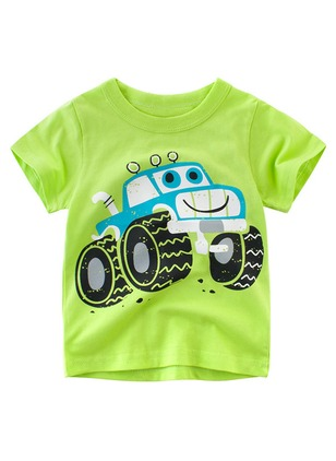 Boys' Color Block Round Neckline Short Sleeve Tops
