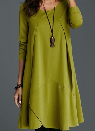 Solid Long Sleeve Knee-Length A-line Dress