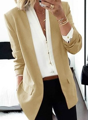 Long Sleeve Collarless Blazers Coats (4047697)
