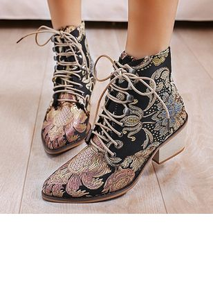 Women's Lace-up Flower Pointed Toe Leatherette Chunky Heel Boots