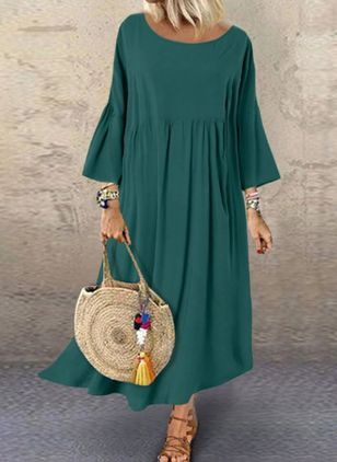 Casual Solid Tunic Round Neckline Shift Dress (101241226)