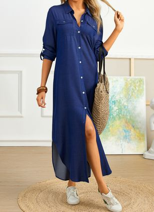 Casual Solid Tunic Collar A-line Dress (2200305)