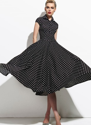 Polka Dot Short Sleeve Midi A-line Dress