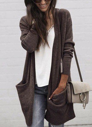 Solid Long Pockets Sweaters