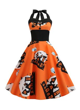 Halloween Color Block Halter Neckline Midi X-line Dress (109973592)