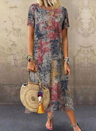 Casual Floral Tunic Round Neckline A-line Dress (2200286)
