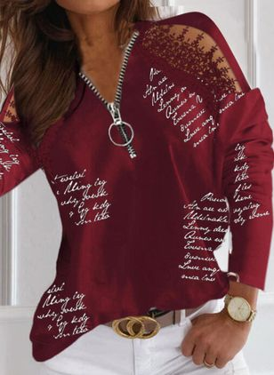Alphabet Casual V-Neckline Long Sleeve Blouses (146930597)