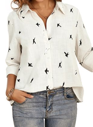 Animal Arabian Collar Long Sleeve Blouses (1539417)