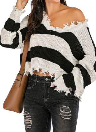 V-Neckline Stripe Casual Loose Short Shift Sweaters (107251202)