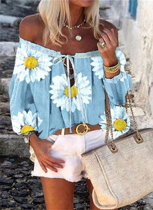 Floral Casual Off the Shoulder Long Sleeve Blouses (147151193)