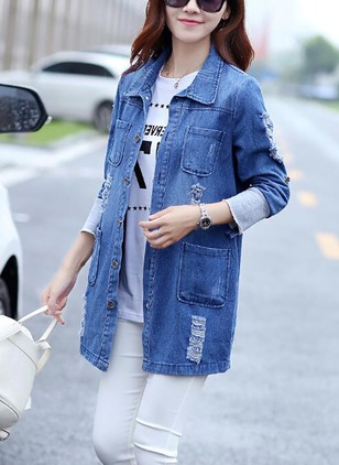 Denim Half Sleeve Collar Coats