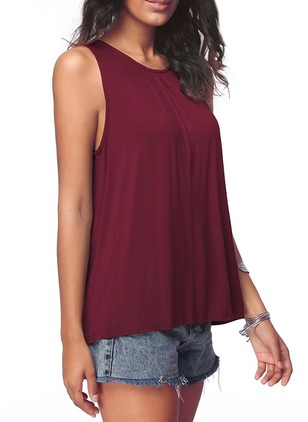 Cotton Solid Round Neck Sleeveless T-shirts
