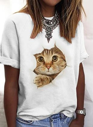 Animal Round Neck Short Sleeve Casual T-shirts (2200970)