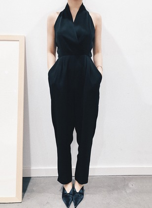 Polyester Solid Sleeveless Casual Backless Jumpsuits &  ...