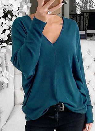 Solid Casual V-Neckline Long Sleeve Blouses (106154572)