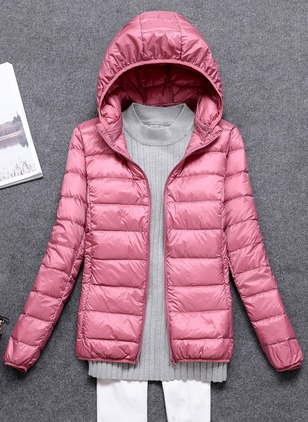 Long Sleeve Hooded Zipper Unremovable Fur Collar Padded Coats
