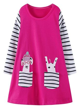 Girls' Cute Animal School Long Sleeve Dresses