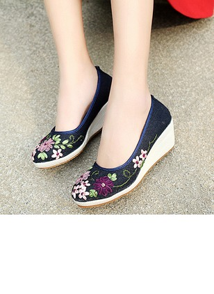 Embroidery Low Top Cloth Wedge Heel Shoes (1183819)