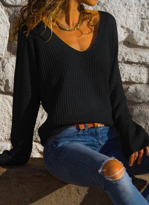 V-Neckline Solid Casual Loose Regular Shift Sweaters (6047055)