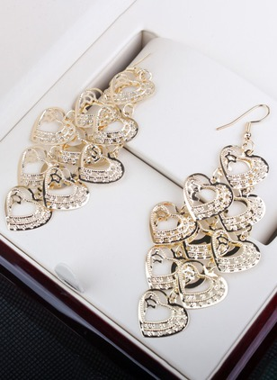 Heart No Stone Dangle Earrings