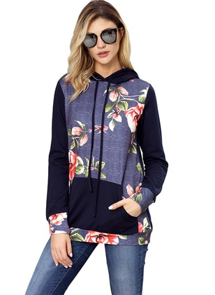 Floral Casual Cotton Hooded Sweatshirts