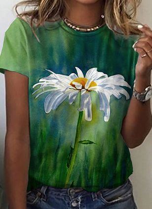 Floral Round Neck Short Sleeve Casual T-shirts (147495786)