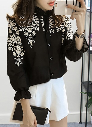 Color Block Casual Chiffon Round Neckline Long Sleeve Blouses