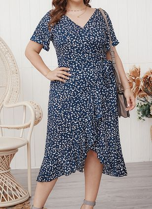 Plus Size Floral V-Neckline Casual Sashes Midi Plus Dress (4043780)