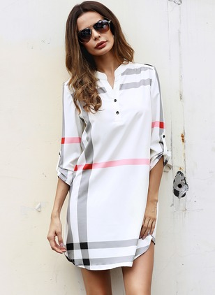 Stripe Buttons V-Neckline Long Sleeve Shift Dress