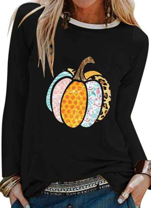 Color Block Round Neck Long Sleeve Halloween T-shirts (107952927)