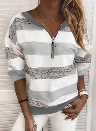 Stripe Casual V-Neckline Long Sleeve Blouses (146380131)