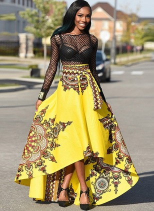 Polyester Floral High Low Sashes Skirts