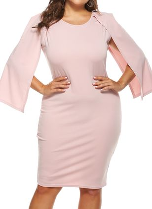 Plus Size Casual Solid Pencil Round Neckline Bodycon Dress (100321233)