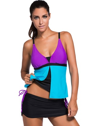 Polyester Halter Color Block Cover-Ups Swimwear