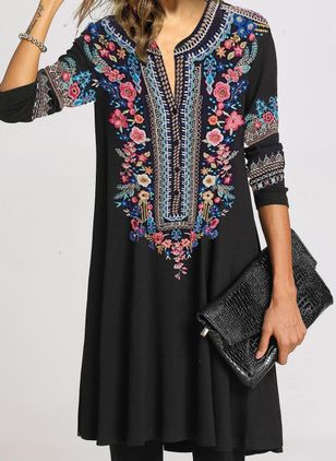 Chic Floral Tunic V-Neckline Shift Dress (101326544)