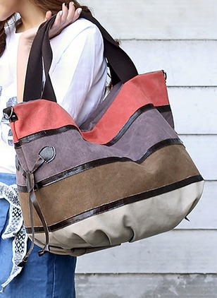 Shoulder Color Block Canvas Zipper Double Handle Bags