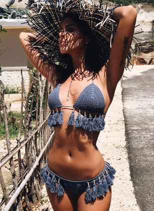Cotton Halter Solid Tassels Crochet Knotted Bikinis Swimwear