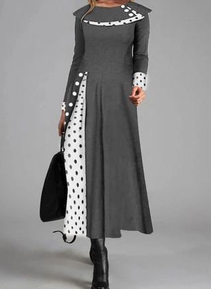 Casual Polka Dot Round Neckline Long Sleeve Maxi Dress (107251402)