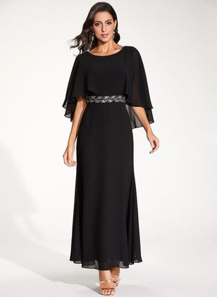 Elegant Color Block Round Neckline Maxi X-line Dress (1322745)