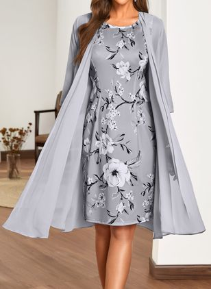 Elegant Floral Wrap Round Neckline Sheath Dress (1503290)