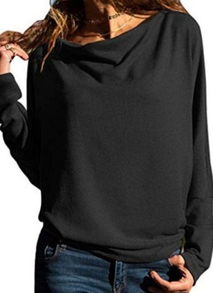 Solid Casual Round Neckline Long Sleeve Blouses (102930543)