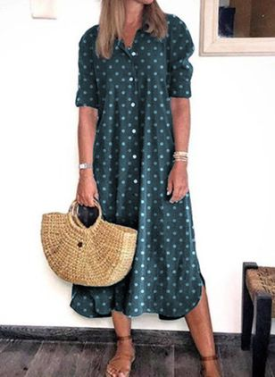 Casual Polka Dot Tunic Collar A-line Dress (4044348)