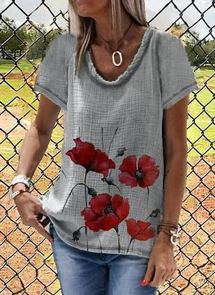 Floral Round Neck Short Sleeve Casual T-shirts (147929616)