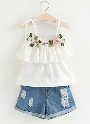 Girls' Cute Floral Holiday Sleeveless Clothing Sets