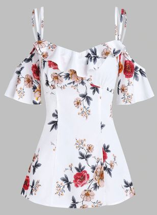 Floral Casual Camisole Neckline Short Sleeve Blouses (146981585)