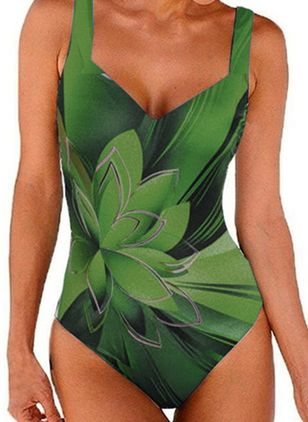 Polyester Blomster One-pieces Badedrakter (146977079)